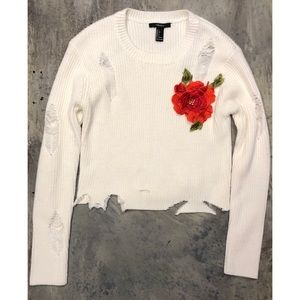 Forever 21 Distressed Sweater With rose 🌹
